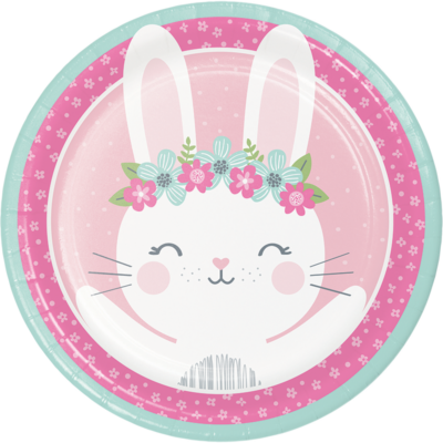 1st Birthday Bunny - Bohókás Nyuszi Szülinapi Kislányos Party Tányér - 23 cm, 8 db-os
