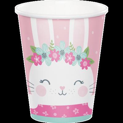 1st Birthday Bunny - Bohókás Nyuszi Szülinapi Kislányos Pohár - 266 ml, 8 db-os