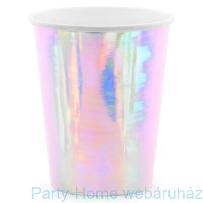 Mermaid Shine Party - Sellő Holografikus Parti Pohár - 266 ml, 8 db-os