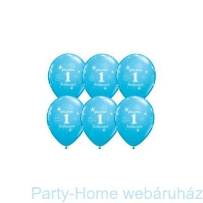 11 inch-es Boldog 1. Szülinapot Feliratú Sparkle Robins Egg Blue Szülinapi Lufi (6 db/csomag)