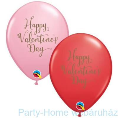 11 inch-es Happy Valentine's Day Script Assorted Red and Pink Szerelmes Lufi 1 db.