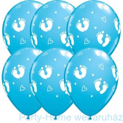 11 inch-es Baby Footprints & Hearts Robins Egg Blue Lufi (6 db/csomag)
