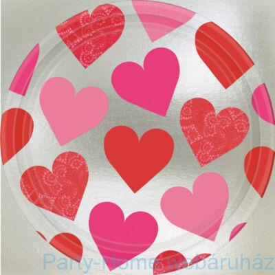 Szerelmes Szívek Parti Tányér 23 cm, 8 db-os