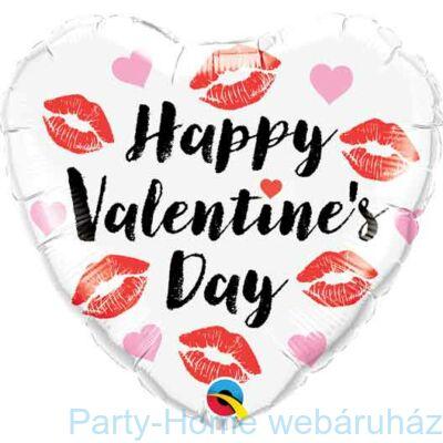 18 inch-es Happy Valentine's Day Kissey Lips Szív Fólia Lufi Valentinnapra