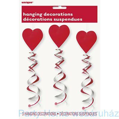 Szív Spirális Függő Dekoráció - 3 db-os