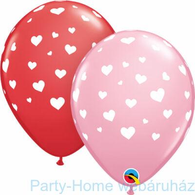11 inch-es Random Hearts-a-Rnd Red & Pink Lufi 1 db.