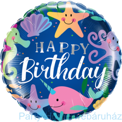 18 inch-es Tengeri Állatok - Fun Under The Sea Happy Birthday Szülinapi Fólia Lufi