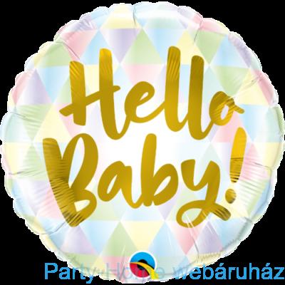 18 inch-es Hello Baby! Fólia Lufi Babaszületésre