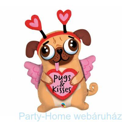 36 inch-es Pugs & Kisses - Szerelmes Mopsz Kutya Fólia Lufi Valentinnapra