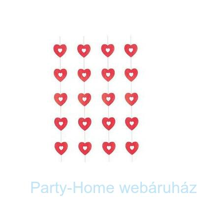 Piros - Pink Szív Spirális Függő Dekoráció, 3 db-os
