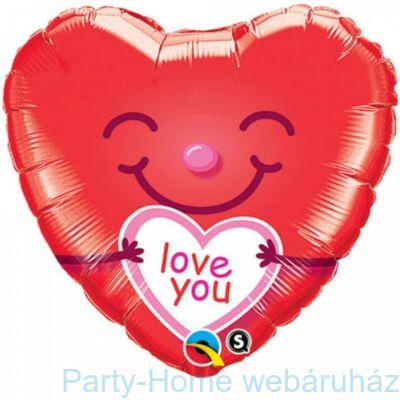 18 inch-es Love You Smiley Hearts Szerelmes Szív Fólia Lufi