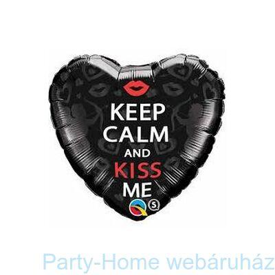 Keep Calm And Kiss Me Szerelmes Szív Alakú Fólia Lufi