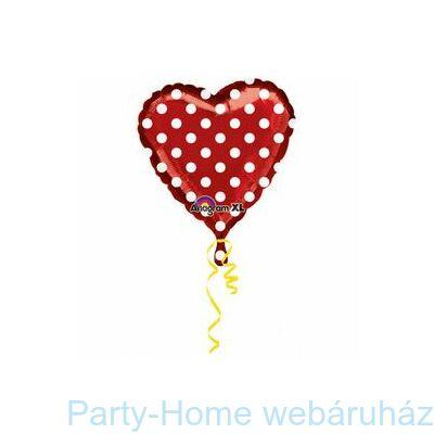 18 inch-es Piros Fehér Pöttyös Szív Szerelmes Fólia Lufi