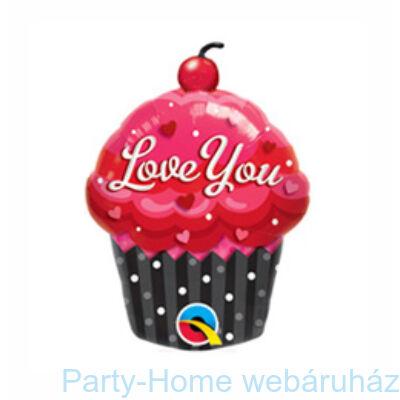 14 inch-es Muffin Süti - Love You Cupcake Fólia Lufi pálcás