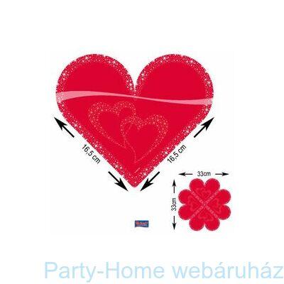 Piros Szív Formájú Parti Szalvéta - 33 cm x 33 cm, 20 db