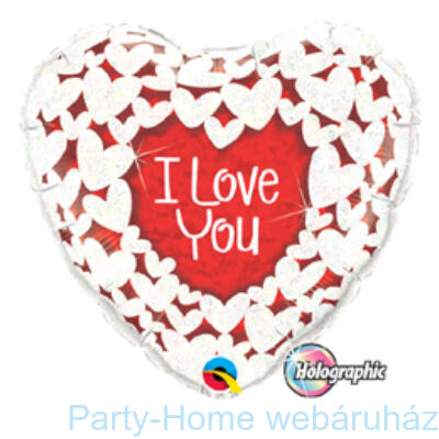 I Love You Red and White Szerelmes Fólia Lufi