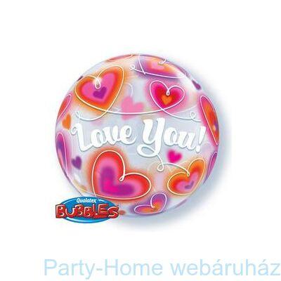 22 inch-es Love You Doodle Hearts Szerelmes Bubble Lufi