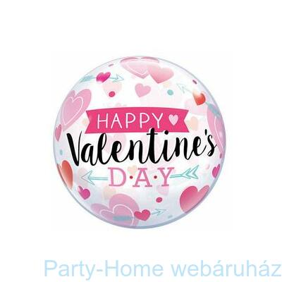 22 inch-es Valentine's Arrow and Hearts Szerelmes Bubble Lufi