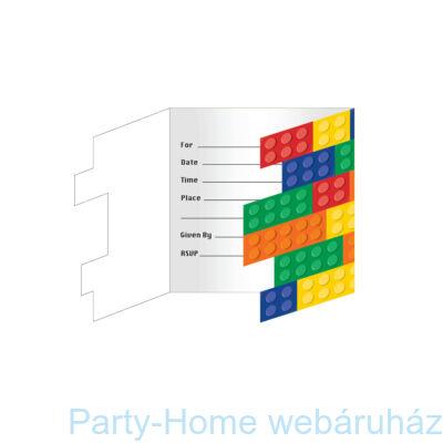 Lego Party - Lego Mintás Parti Meghívó - 8 db-os