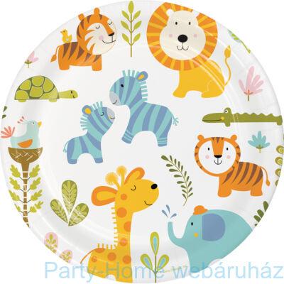 Mókás dzsungel állatok tányér 23 cm 8db