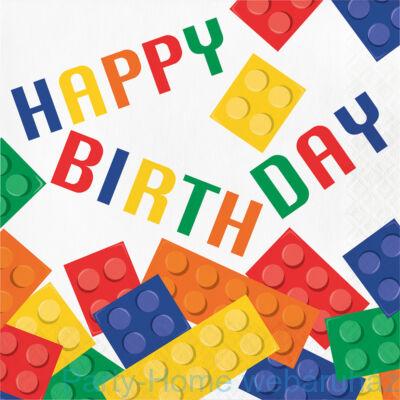 Lego Party - Lego Mintás Happy Birthday Szalvéta - 33 cm x 33 cm, 16 db-os