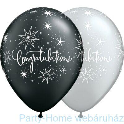 11 inch-es Congratilations Elegant Black és Silver Lufi 1 db