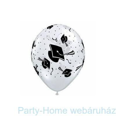 16 inch-es Graduation Hats Diamond Clear Ballagási Lufi 1 db