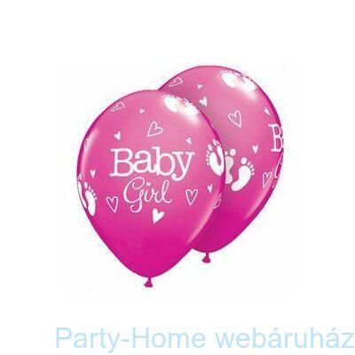 11 Inch-Es Baby Girl Footprints & Hearts Rose Lufi