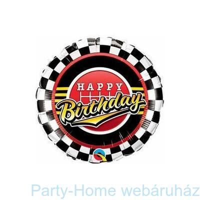 18 Inch-Es Birthday Checkered Pattern Szülinapi Fólia Lufi