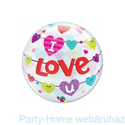 I Love U Banner Hearts Szerelmes Bubbles  Lufi