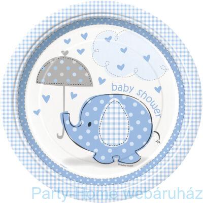 Pöttyös elefánt baby kisfiús tányér 23 cm 8db