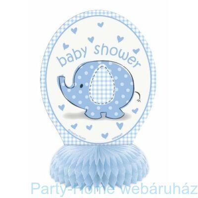 Pöttyös elefánt baby kisfiús asztaldekoráció 15cm