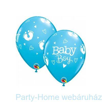 11 Inch-Es Baby Boy Footprints & Hearts Robins Egg Blue Lufi