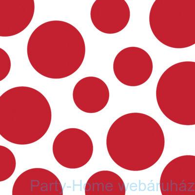 Csíkos és pöttyös szalvéta  33 cm piros 16db
