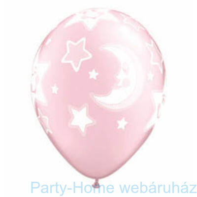 11 inch-es Baby Moon and Stars Pearl Pink Lufi Babaszületésre