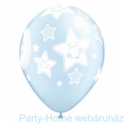 11 inch-es Baby Moon and Stars Pearl Light Blue Lufi Babaszületésre