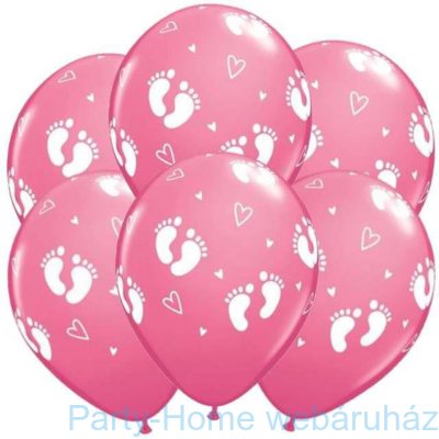 11 inch-es Baby Footprints & Hearts Rose Lufi (6 db/csomag)