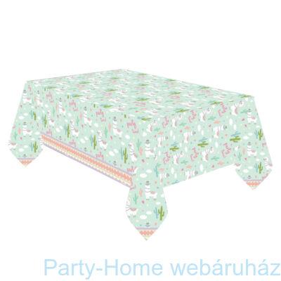 Llama Party Time - Láma Party Asztalterítő - 120 cm x 180 cm