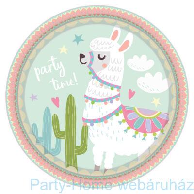 Llama Party Time - Láma Party Tányér - 23 cm, 8 db-os