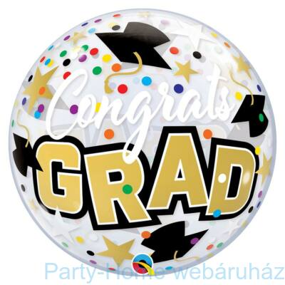 22 inch-es Congrats Grad Stars & Dots Bubble Lufi