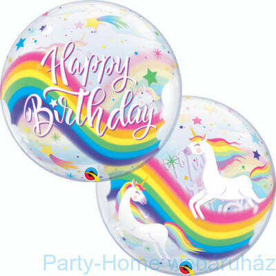 22 inch-es Birthday Rainbow Unicorn Szülinapi Bubble Lufi