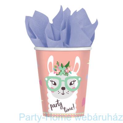 Llama Party Time - Láma Party Pohár - 250 ml, 8 db-os