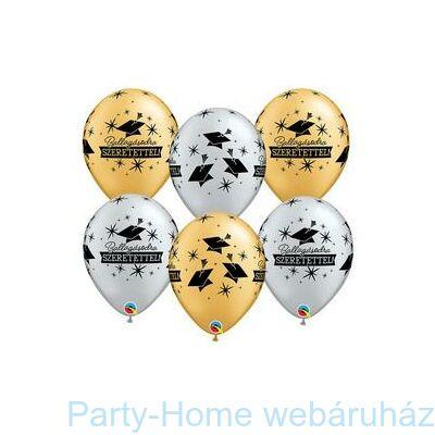 11 inch-es Ballagásodra Szeretettel Diplomakalap Mintás Arany & Ezüst 1 db