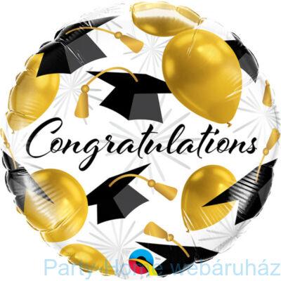 18 inch-es Congratulations Gold Balloons Fólia Lufi