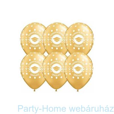 11 inch-es Congatulations Graduate Dots Metallic Gold Ballagási Lufi 1 db
