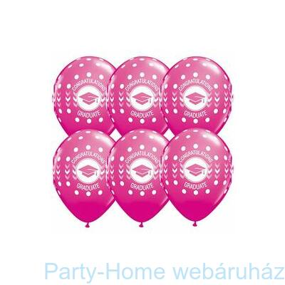 11 inch-es Congatulations Graduate Dots Wild Berry Ballagási Lufi 1 db