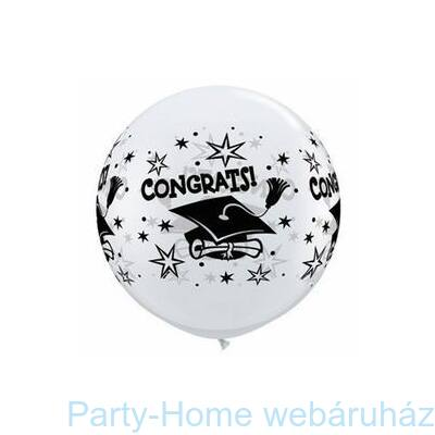 3 feet-es Congrats! Cap Wrap White Ballagási Lufi 1 db
