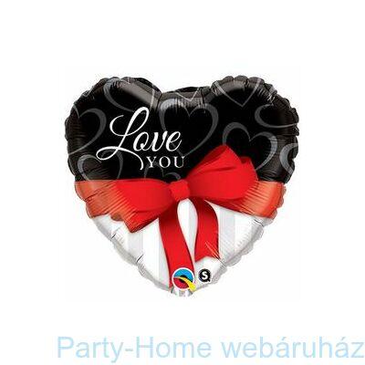 Love You Red Ribbon Szerelmes Szív Alakú Fólia Lufi