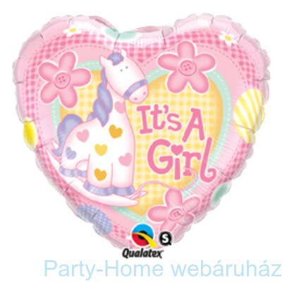It is A Girl Soft Pony Baby pálcás Fólia Lufi Babaszületésre
