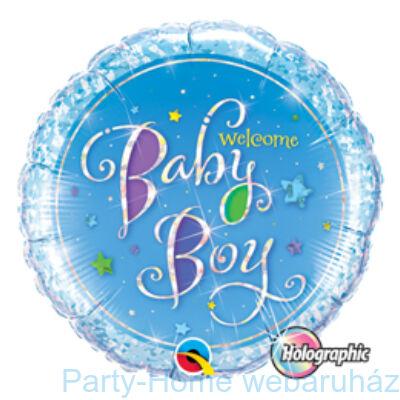 Welcome Baby Boy Stars Holografikus Fólia Lufi Babaszületésre